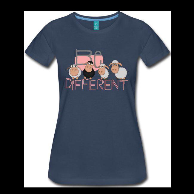 Be different Schafe Damen Shirt navyblau pink