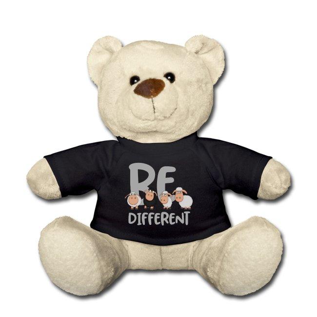 Be different Schafe Design auf Teddybär als Geschenkidee für einen besonderen Menschen