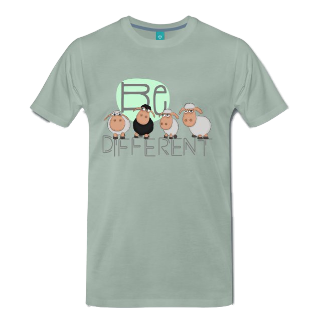 be different Schafe Herren Shirt graugrün