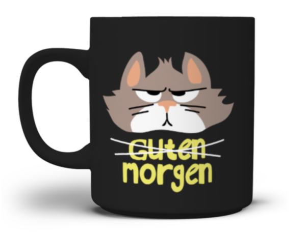 Guten Morgen grimmige Katze auf Tasse